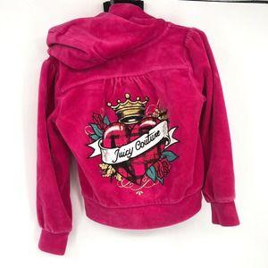 Girls Juicy Couture Pink Velour Zip Track Jacket